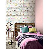 Girls Life Bookshelf Wallpaper Multi Arthouse 696004
