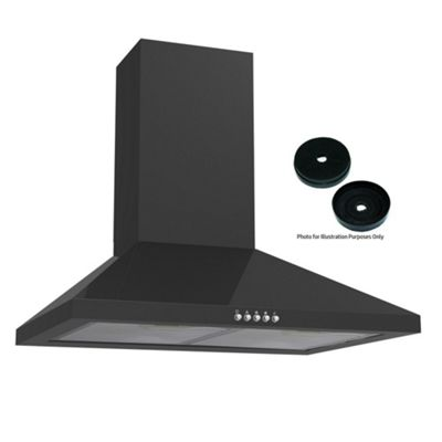 Cookology 60cm Chimney Cooker Hood in Black | Kitchen Extractor Fan & Recirculating Carbon Filters