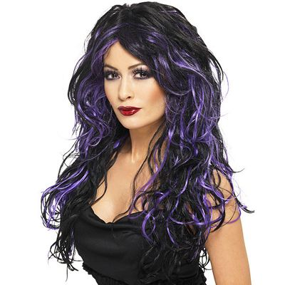 Smiffy's - Gothic Bride Wig - Black & Purple