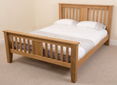 Boston Solid Oak 4ft6 Double Bed with 10