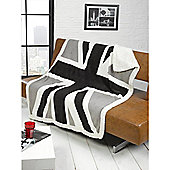 Union Jack Black Throw 130 x 160cm
