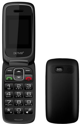 Denver GSP-131 Big Button Easy to Use Mobile Phone for the Elderly with SOS Quick Call, FM Radio, SIM Free Unlocked, Charging Dock and Bluetooth
