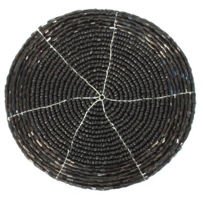 Modern Black Beaded Round Coaster Dining Table Decor