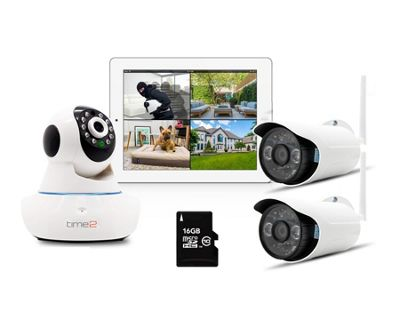 Time2 WIFI Smart Home CCTV Camera Security System HD 720p with 3 Cameras (2 Outdoor & 1 Indoor)