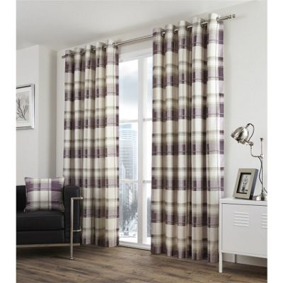 Fusion Balmoral Check Plum Lined Curtains - 90x72 Inches (229x183cm)