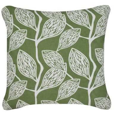 Filled Cushion Linen Leaf Puffs Green Cover Home Decor