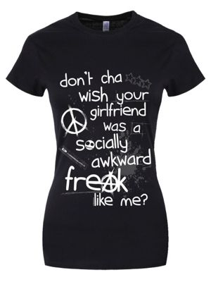 Don't Cha Wish Your Girlfriend Women's T-shirt, Black.