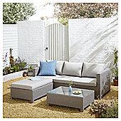 San Marino Rattan L Shaped Sofa Garden Lounge Set, Grey