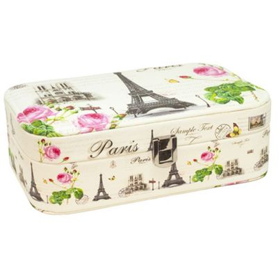Vintage Paris Themed White Faux Leather Jewellery Box with Mirror