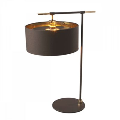 Brown/Polished Brass Table Lamp - 1 x 60W E27