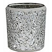 Silver Mosaic Round Tealight Holder