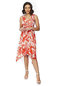 Wallis Petite Floral Print Handkerchief Hem Dress - Red