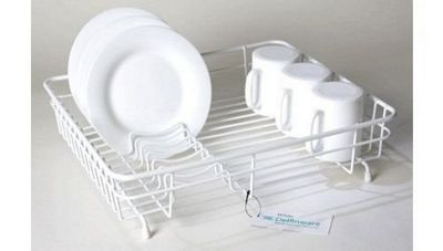 Delfinware Plastic Coated Medium Flat Rectangular Dish Sink Drainer in White