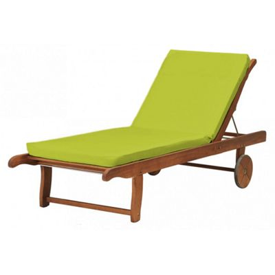 Outdoor Water Resistant Lounger Two Part Seat Pad Lime