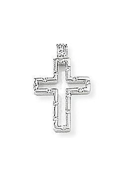 Jewelco London 18ct White Gold - Diamond - Open Cross Charm Pendant -