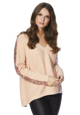 Red Velvet V-Neck Sequin Sleeve Jumper M Pink
