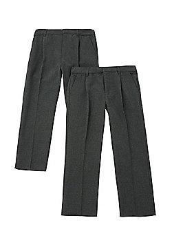 F&F 2 Pack of Boys Pleat Front Reinforced Knee School Trousers - Dark grey