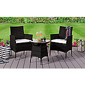 Comfy Living Rattan Bistro Garden Furniture Set - 2 Chairs and Coffee Table with Rain Cover in BLACK