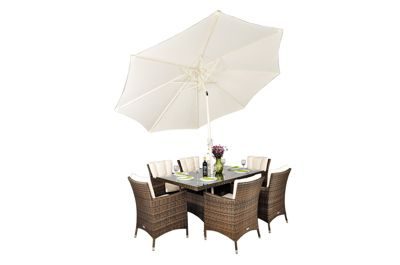 Savannah Rattan Garden Furniture 6 Seat Rectangular Glass Top Table Dining Set with Free Parasol with Base, Dust Cover, Cushions & 1 Yr Warranty