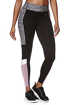 F&F Active Panelled Zip Pocket Leggings - Black
