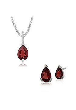 Gemondo 9ct White Gold Garnet Single Stone Pear Stud Earring & 45cm Necklace Set