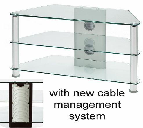 Medium Size Corner TV Stand - Silver