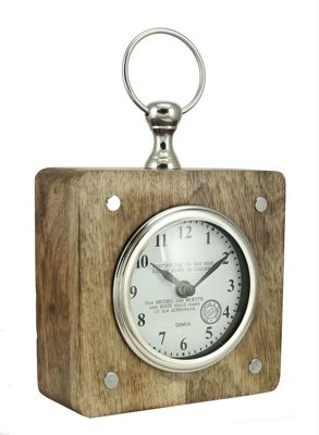 Wood And Nickel Square Table Clock