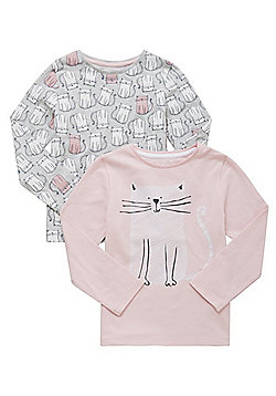 F&F 2 Pack of Cat Print Long Sleeve T-Shirts - Pink & Grey