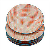 Nicola Spring Patterned Dinner Plates - 255mm (10 Inches) - Orange Print Design - Box Of 6