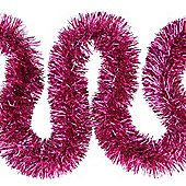 6m Bright Pink Fine Cut 7.5cm Christmas Tree Tinsel