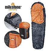 Mummy Sleeping Bag Double Layer Orange/Black - Size Single - Milestone