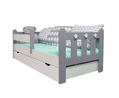 Stanley Toddler Bed Grey&White/Pocketcoolmax Mattress/Quilted Topper-Drawerwhite