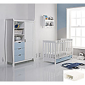 Obaby Stamford Mini Cot Bed/Wardrobe + Sprung Mattress - White with Bonbon Blue