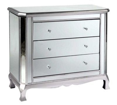 Antique Silver 3-Drawer Mirrored Cabinet Width: 92cm