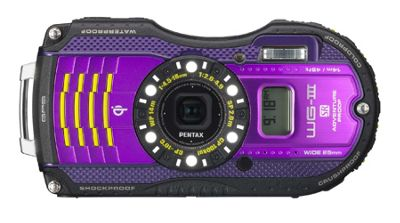Pentax Optio WG-3 GPS Camera Purple 16MP 4xZoom 3.0LCD Wtprf