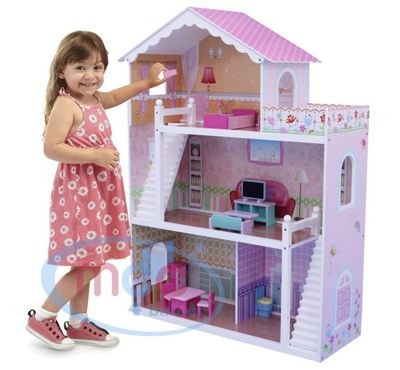 Wooden Doll House With Furniture & Staircase Fits Barbie Dollhouse
