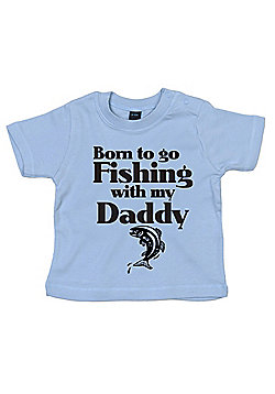 Dirty Fingers Born to go Fishing with my Daddy Baby T-shirt - Blue