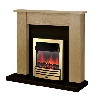 Adam New England Fireplace Suite in Oak with Eclipse Electric Fire in Brass