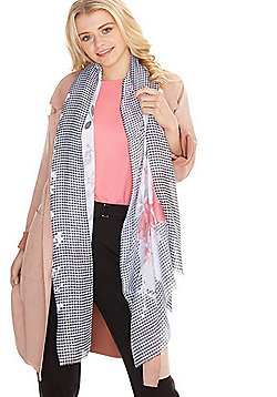 F&F Floral and Gingham Print Scarf - Blue