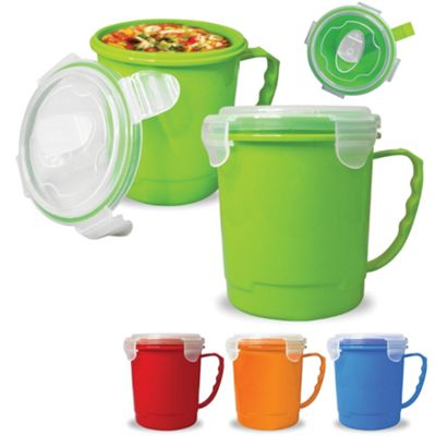Pendeford Heat & Eat Soup Mug with Lid, Green, 0.7 Litre
