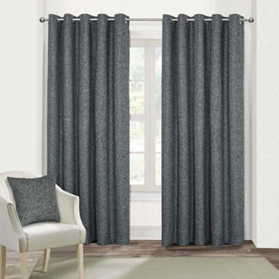 Dark Grey Heavy Boucle Textured Blackout Lined Eyelet Curtain Pair, 66 x 72