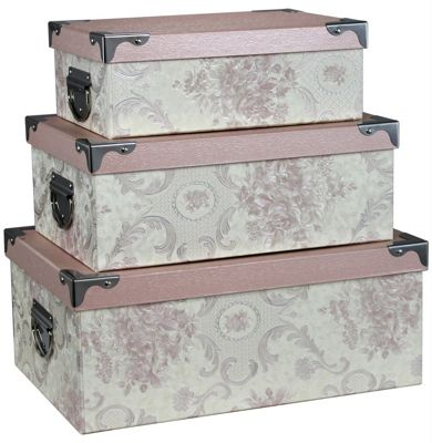 Set of 3 Cream and Pink Blossom Storage Boxes
