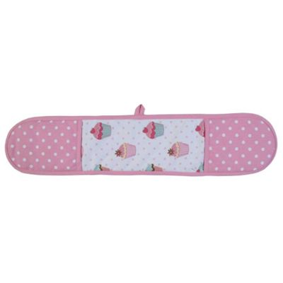 Homescapes Cotton Cupcakes Pink Blue Double Oven Glove