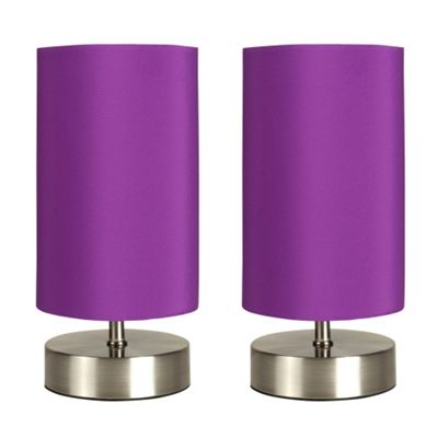 Pair of Francis Touch Table Lamps, Brushed Chrome & Purples