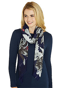 F&F Metallic Stripe Floral Butterfly Print Scarf - Blue