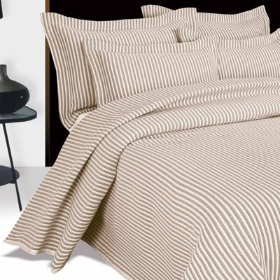 Homescapes Beige and White Quilted Striped Bedspread, Single