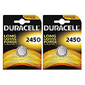 2 x Duracell CR2450 3V Lithium Coin Cell Battery 2450 DL2450 K2450L