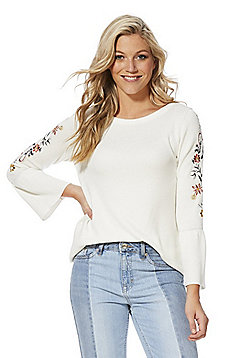 F&F Embroidered Flute Sleeve Jumper - White