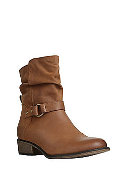 F&F Buckled Leather Slouch Ankle Boots - Tan
