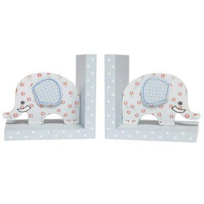 Ellie - Elephant Childrens Shelf Sitter Bookends - Set Of Two - Blue